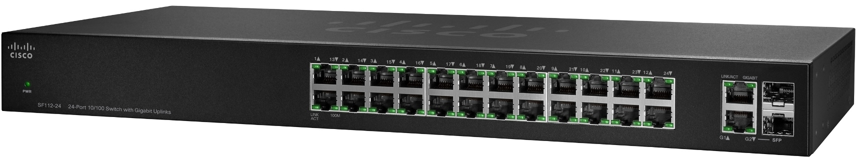 Cisco switch SF112-24, 24x10/100, 2x GE/SFP combo, kov