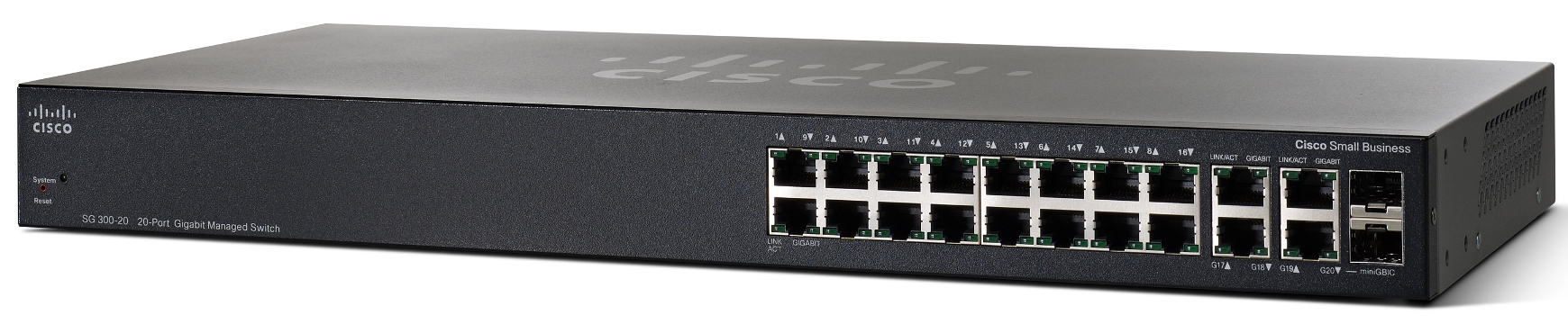 Cisco SG300-20, 18xGiga + 2x SFP Switch