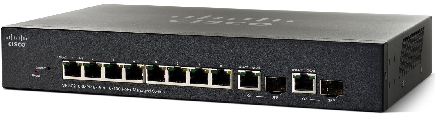 Cisco SF302-08MPP, 8x10/100 MPoE+ + 2x SFP Switch