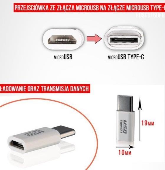 ADAPTER CHARGING/DATA microUSB-microUSB Type C
