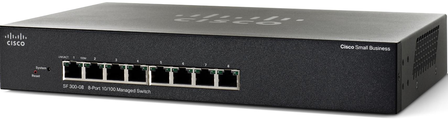 Cisco switch SF300-8, 8x10/100, SNMP, RMON