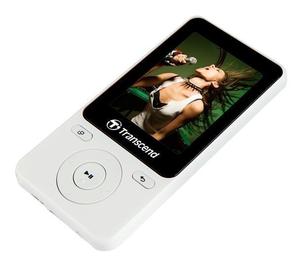 Transcend MP710 8GB MP3/MPEG4 přehrávač+FM display 2,4'',microSDHC,bílý