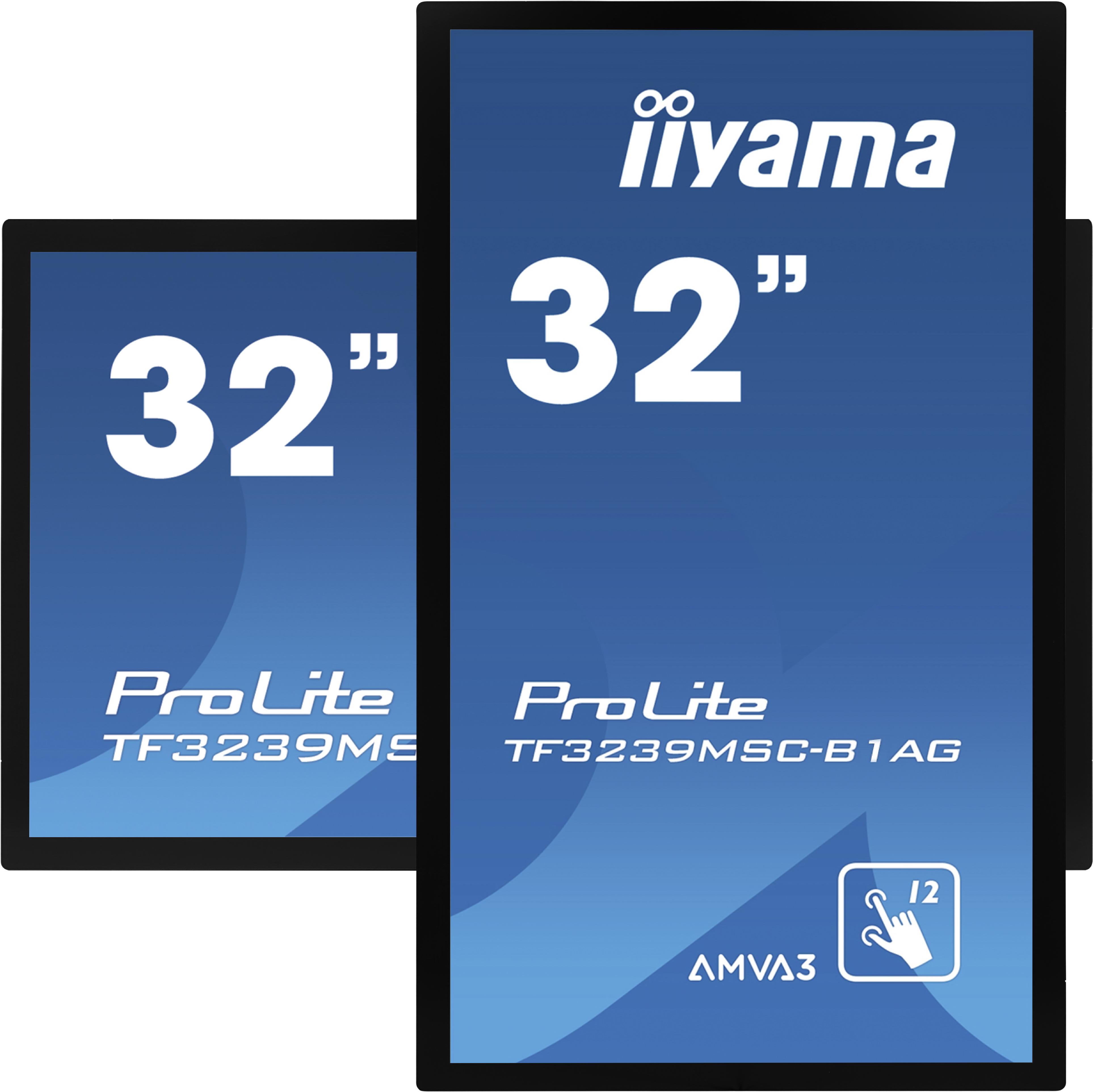 """32"""" iiyama TF3239MSC-B1AG: AMVA, FullHD, capacitive, 12P, 500cd/m2, VGA, HDMI, DP, 24/7, IP54, černý"""