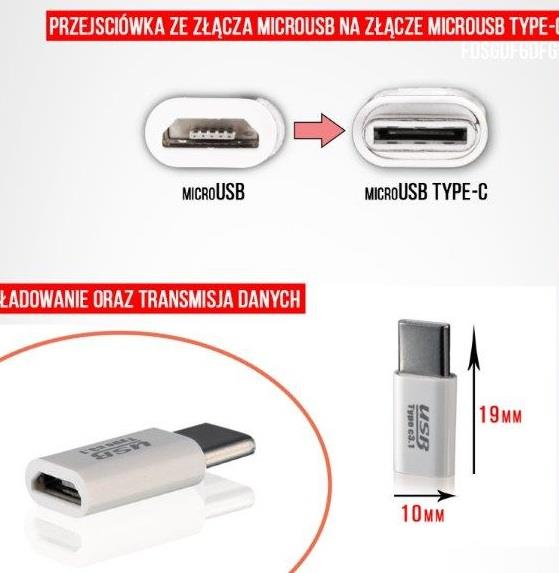 ADAPTER CHARGING/DATA microUSB-microUSB Type C