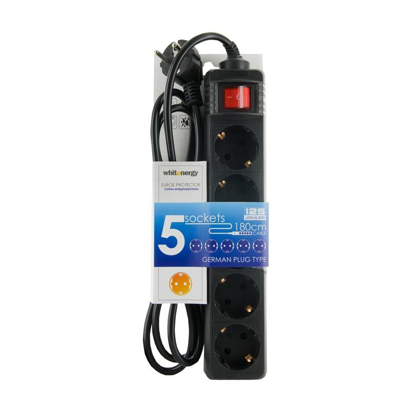Whitenergy prodlužovák s přepěťovou ochranou 125J, 5 zásuvky, 1.8m, zástrčka DE