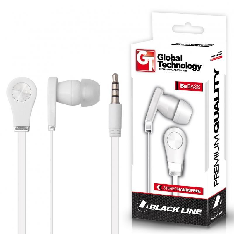 GT HF Be BASS MP3 sluchátka do uší s mikrofonem pro mobilní telefony LG, bílá