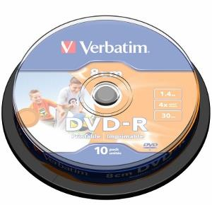 Verbatim mini DVD-R [ cakebox 10 | 1.4GB | 4x | printable ]