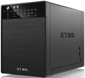 External Icy Box 4x 3,5'' USB 3.0, eSATA Host, RAID 0, 1, 3, 5, 10, Black