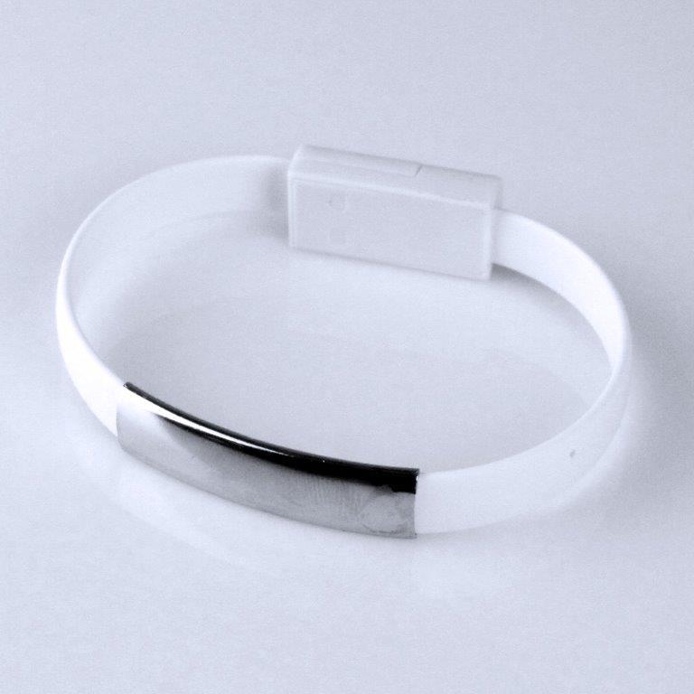 GT kabel USB/micro USB, náramek, bílý