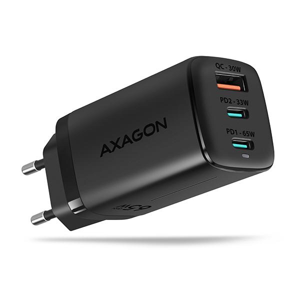 AXAGON ACU-DPQ65, GaN nabíječka do sítě, 3x port (USB + dual USB-C), PD3.0/QC4+/PPS/Apple, 65W