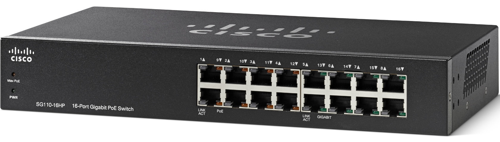 Cisco switch SG110-16HP, 16x10/100/1000, bez managementu, PoE