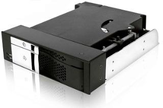 Icy Box Mobile Rack 5.25'' pro SATA 2.5'' a SATA 3.5'' HDD, ventilátor, černý