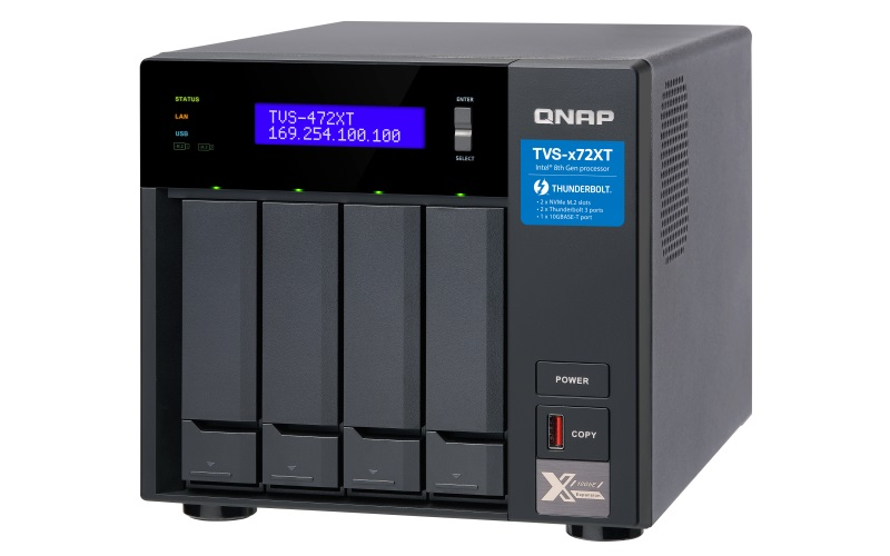 QNAP TVS-472XT-i5-4G (6core 3,3GHz, 4GB RAM, 4xSATA, 2xM.2 NVMe, 2x1GbE, 1x10GbE, 2x Thunderbolt 3)