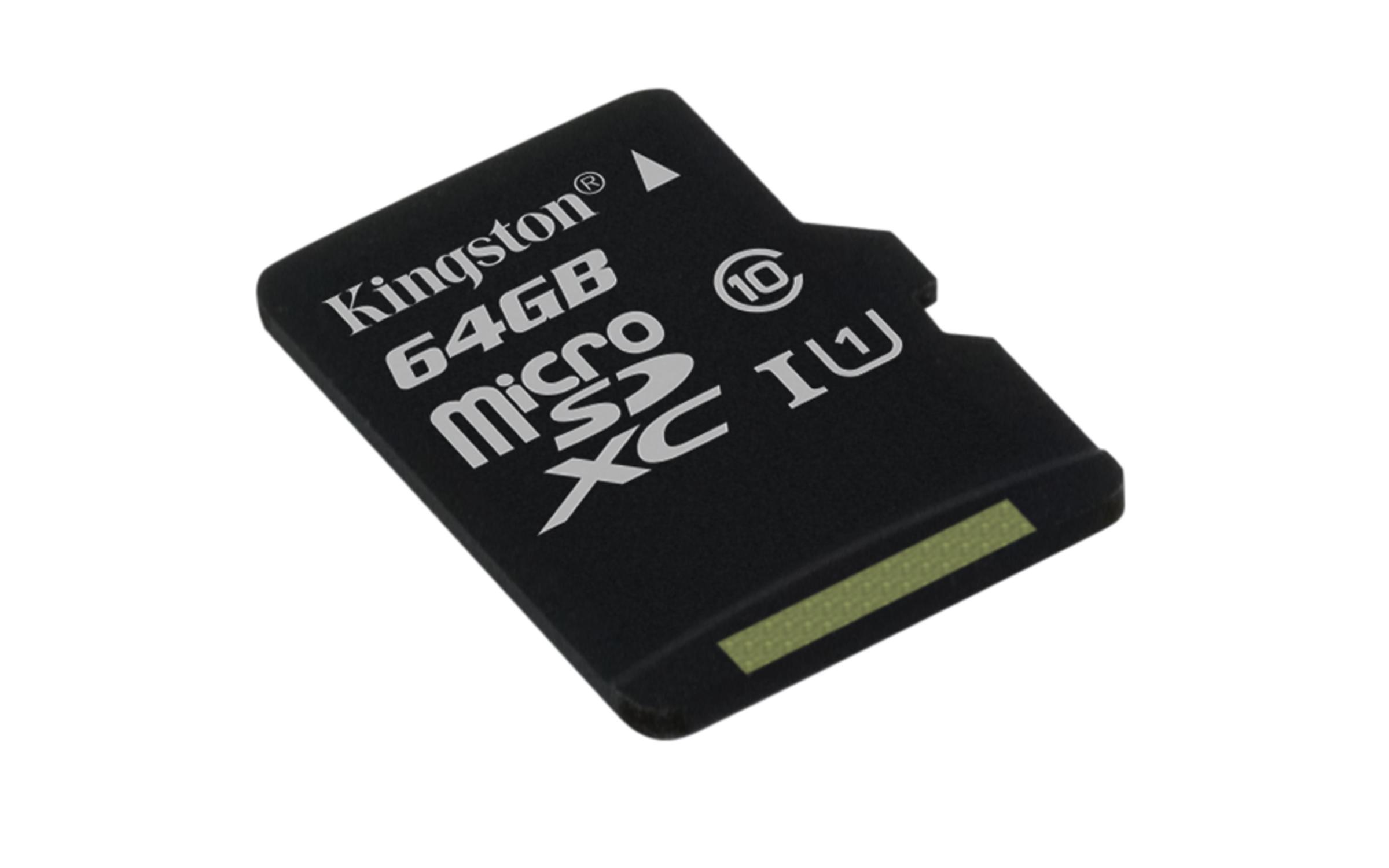 KINGSTON 64GB microSDHC Memory Card 45MB/10MBs- UHS-I class 10 Gen 2 - bez adaptéru
