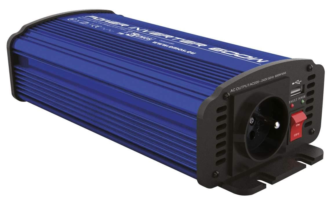 Emos CARBOOST 600A - měnič napětí 12V/230V, 600W, USB 2.1A, svorky
