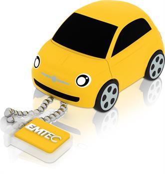 EMTEC Fiat 500 Series F100 8GB USB 2.0 flashdisk (15MB/s, 5MB/s), žlutý