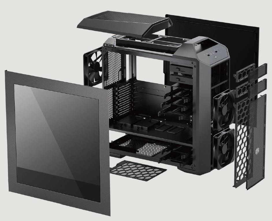 CoolerMaster case miditower modular series Master Case 5 PRO, ATX,black, USB3.0, bez zdroje, průhl. bočnice