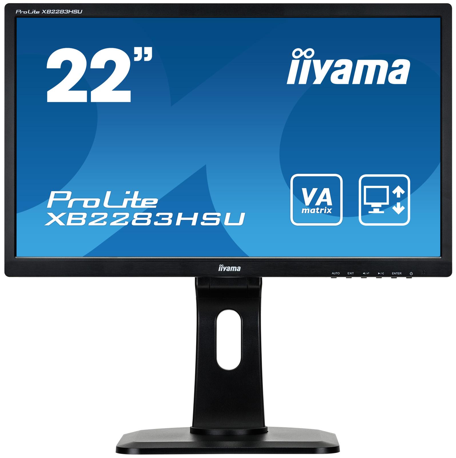 "22""LCD iiyama XB2283HSU-B1DP -5ms, 3000:1(12M:1 ACR), FHD,VGA,DVI, DP,3xUSB,repro,pivot,výšk.nastav."