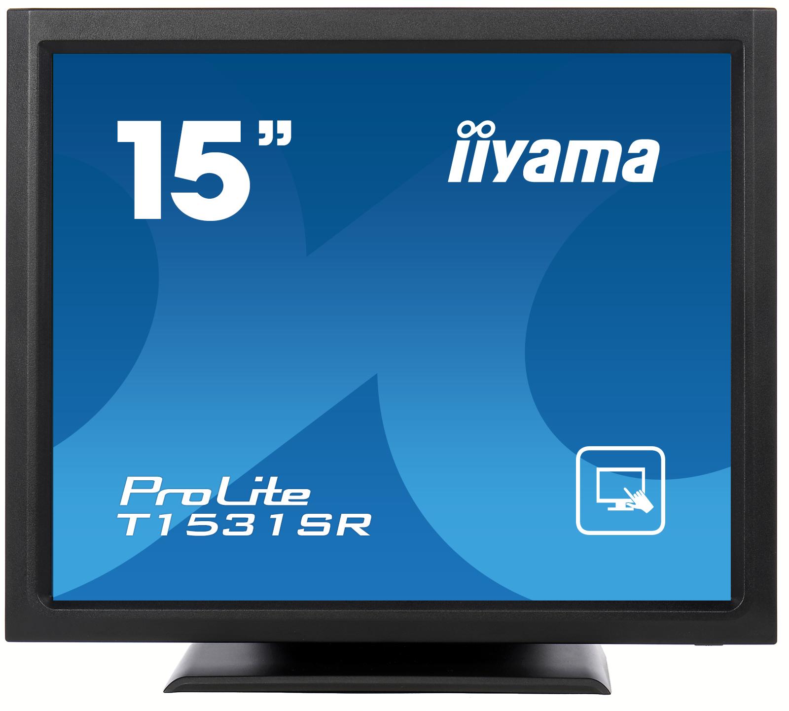 """15"""" LCD iiyama T1531SR-B3 -5 žilový,8ms,350cd,VGA,DVI,USB,RS232C,repro,IP54,černý"""