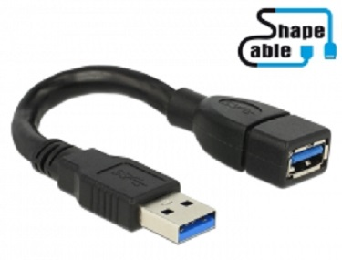 Delock kabel USB 3.0 A samec > USB 3.0 A samice ShapeCable 0.15 m