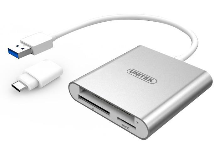 Unitek Y-9313D Multi-In-One čtecka karet, hliníková + adaptér USB 3.1 typ-C