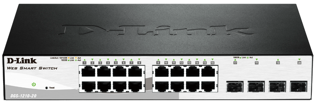 D-Link DGS-1210-20 16x10/100/1000 Base-T port with 4 x 1000Base-T /SFP ports