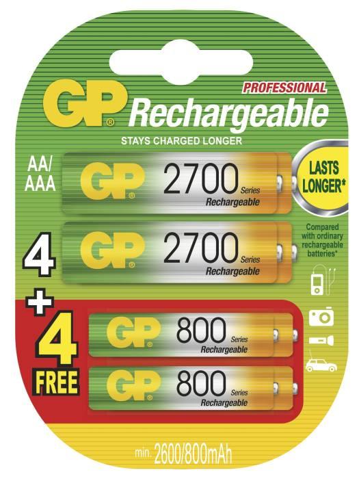 GP PROMOPACK NiMH 4 X AA 2700mAH + 4 X 800mAh