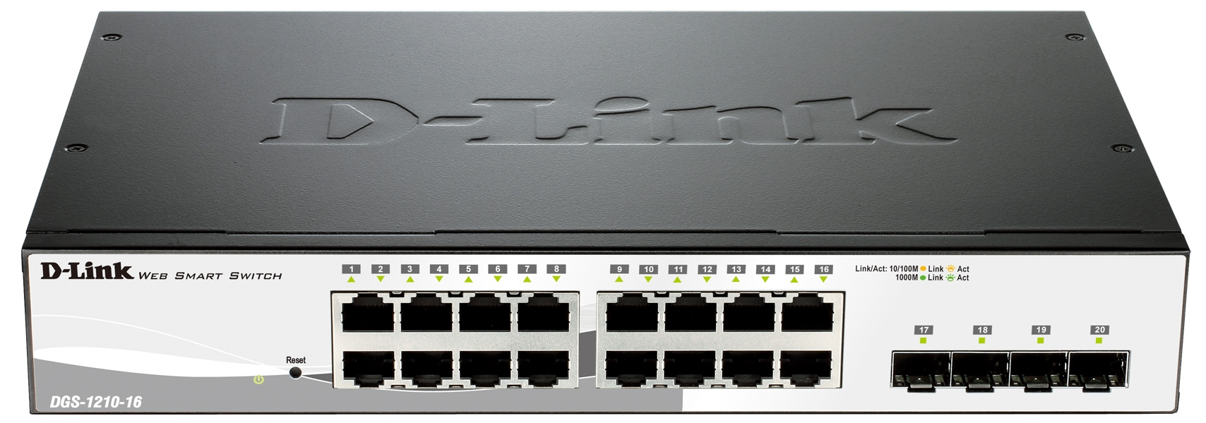 D-Link DGS-1210-16 16-port 10/100/1000 Gigabit Smart Switch including 4 Combo 1000BaseT/SFP