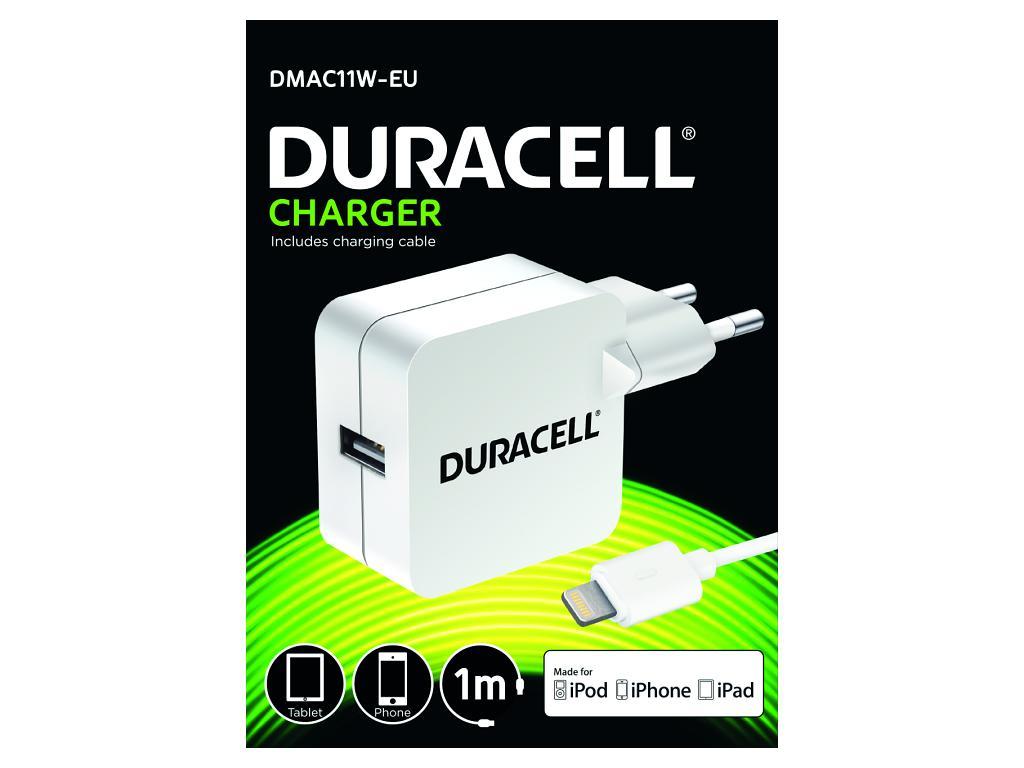 Duracell USB Nabíječka pro čtečky & telefony 2,4A bílá včetně kabelu Lightning