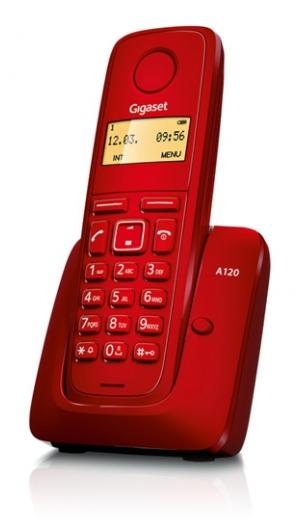 SIEMENS Gigaset A120-RED - DECT/GAP bezdrátový telefon, barva červená