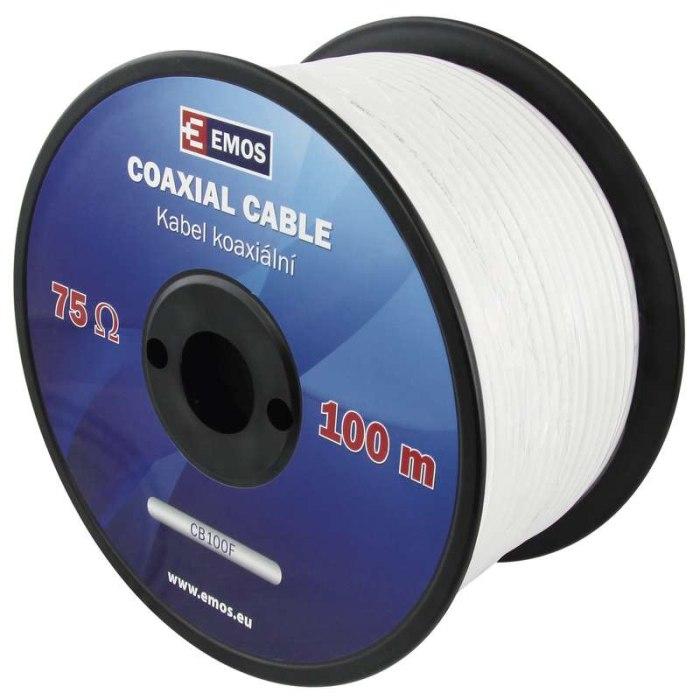 Emos koaxiální kabel CB100F, vnitřní, 6.5mm, měď. drát, 100m, cívka