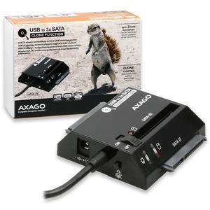 AXAGO USB2.0 - 3x SATA HDD CLONE adapter vč. AC