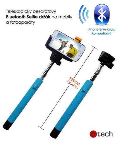 C-TECH teleskopický selfie držák MP107M pro mobil, monopod, Bluetooth dálková spoušť, modrý