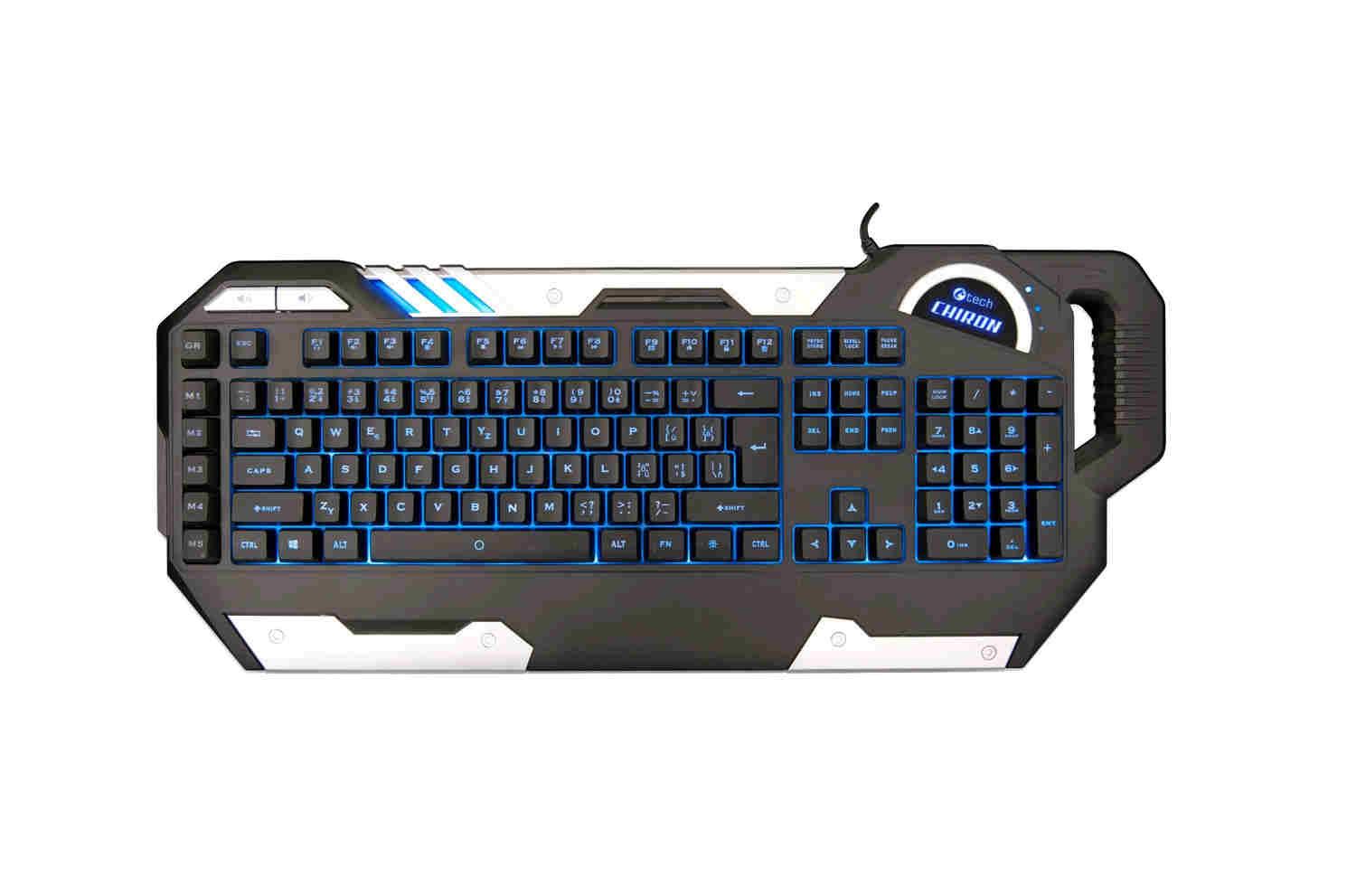 C-TECH herní klávesnice Chiron (GKB-109), CZ/SK, 7 barev podsvícení, programovatelná, černo-stříbrná, USB
