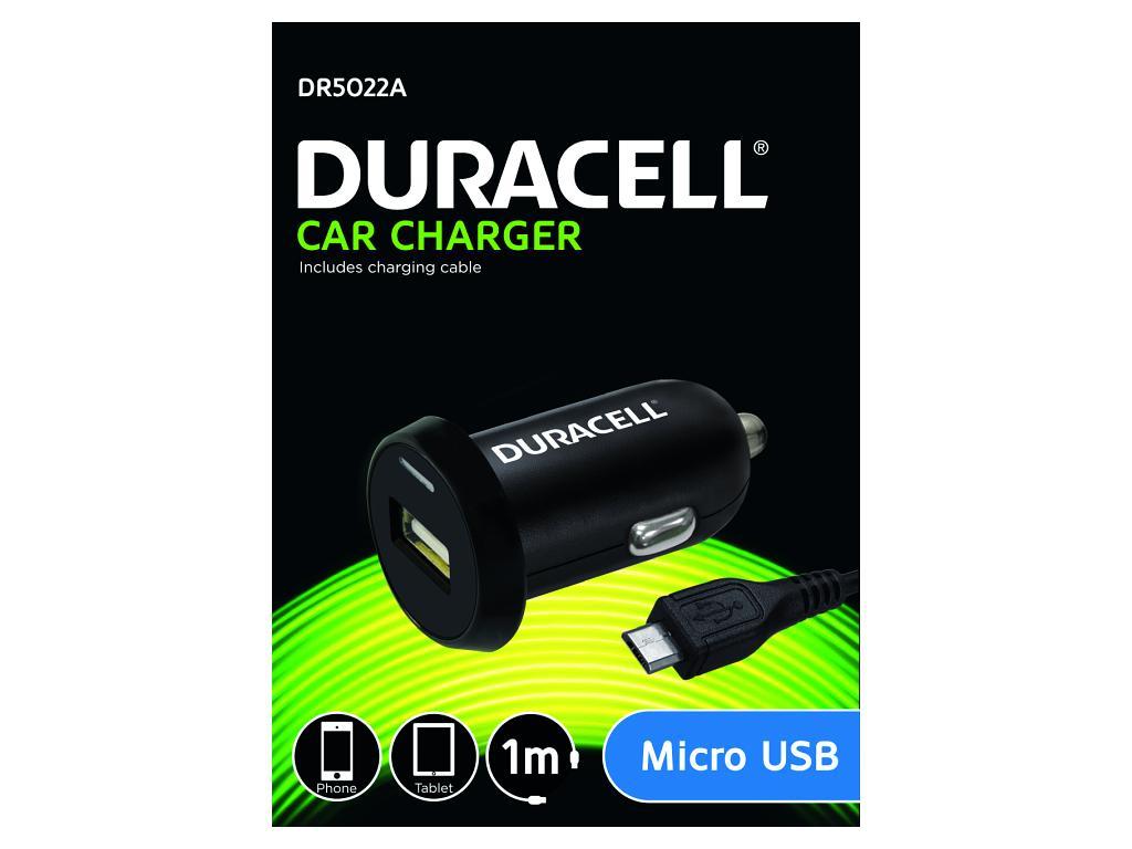 Duracell - Auto-nabíječka s micro USB konektorem (12/24V) černá 1m