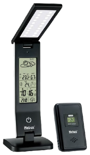 Mebus LED Lamp black with weather Station
