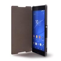 Puro pouzdro s aktivním dotykovým flipem Sense Booklet Quick View pro Sony Xperia Z3 Plus, transparentní