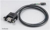 AKASA Kabel redukce interní USB na externí USB, USB 2.0, 60cm