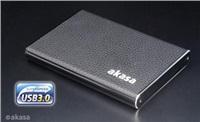 """AKASA HDD box élite S, 1x 2,5"""" SATA HDD/SSD, USB 3.0, kožený"""