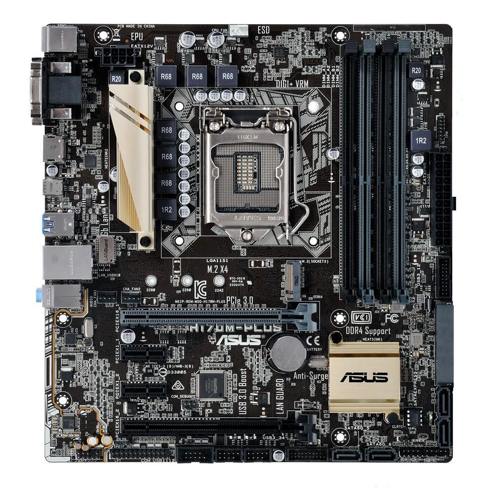 ASUS H170M-PLUS, H170, DualDDR4-2133, SATA3, SATAe, RAID, HDMI, DVI, D-Sub, mATX