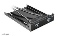 """AKASA Montážní kit pro 2,5"""" HDD do 3,5"""" pozice, 1x 2,5"""" HDD/SSD, 2x USB 3.0, černý hliník"""