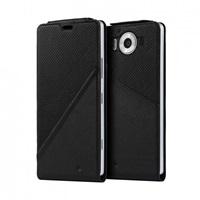 Mozo flipový kryt kožený Notebook pro bezdrátové nabíjení pro Lumia 950, Black