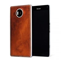 Mozo zadní kryt kožený pro bezdrátové nabíjení pro Lumia 950 XL, Cognac Silver