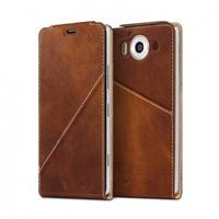 Mozo flipový kryt kožený Notebook pro bezdrátové nabíjení pro Lumia 950, Cognac