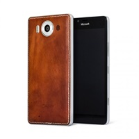 Mozo zadní kryt kožený pro bezdrátové nabíjení pro Lumia 950, Cognac Silver