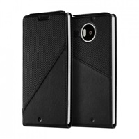 Mozo flipový kryt kožený Notebook pro bezdrátové nabíjení pro Lumia 950 XL, Black