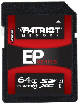 Patriot SDHC UHS-I karta 64GB Class 10 EP series Pro (čtení:90MB/s;zápis:50MB/s)