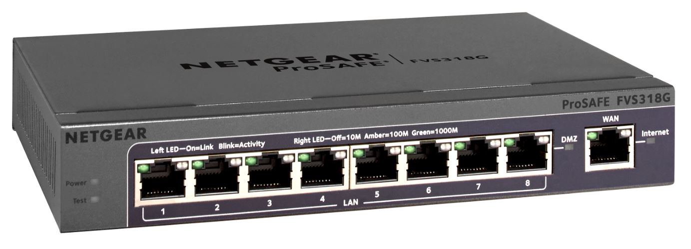 Netgear Prosafe VPN Firewall (up to 5 VPN tunnels) with 8 port 10/100/1000Mbps Switch
