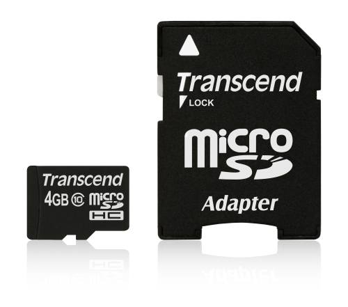 TRANSCEND Micro SDHC Class 10 4GB + adaptér