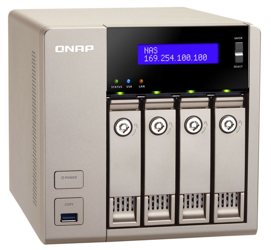 4-Bay NAS, 4GB DDR3L RAM (max 16GB), SATA 6Gb/s, 2 x GbE LAN, 10GbE Ready